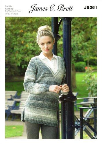f101c60fc James C Brett JB261 Knitting Pattern Womens V Neck Sweater in James C. Brett  Woodlander
