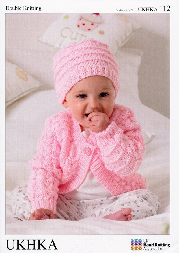 UKHKA 112 Knitting Pattern Baby Cardigans, Hat and Blanket in DK ...