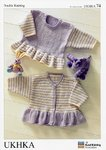 UKHKA 74 Knitting Pattern Baby  Dress and Cardigan in Baby DK