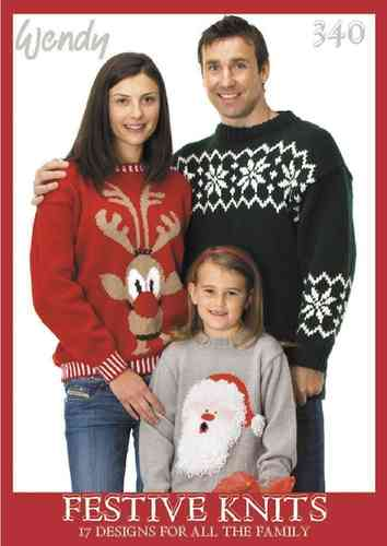Wendy 340 Knitting Pattern Book Festive Knits