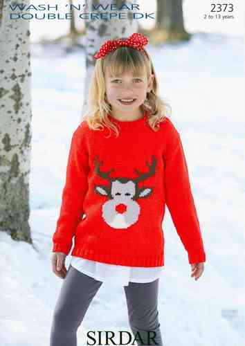 Sirdar 2373 Knitting Pattern Reindeer Sweater in Sirdar Wash 'n' Wear Double Crepe DK