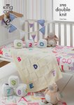 King Cole 3702 Knitting Pattern Blocks, Bunting and Blanket in King Cole DK