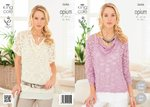 King Cole 3686 Knitting Pattern Ladies' Drape Neck Sweaters in King Cole Opium