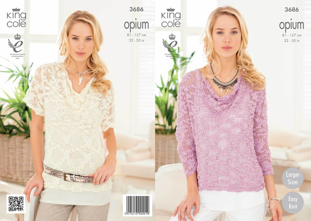 f377a706f King Cole 3686 Knitting Pattern Ladies  Drape Neck Sweaters in King Cole  Opium - Athenbys