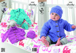 King Cole 3707 Knitting Pattern Baby Jackets Hat & Mittens in Comfort Chunky