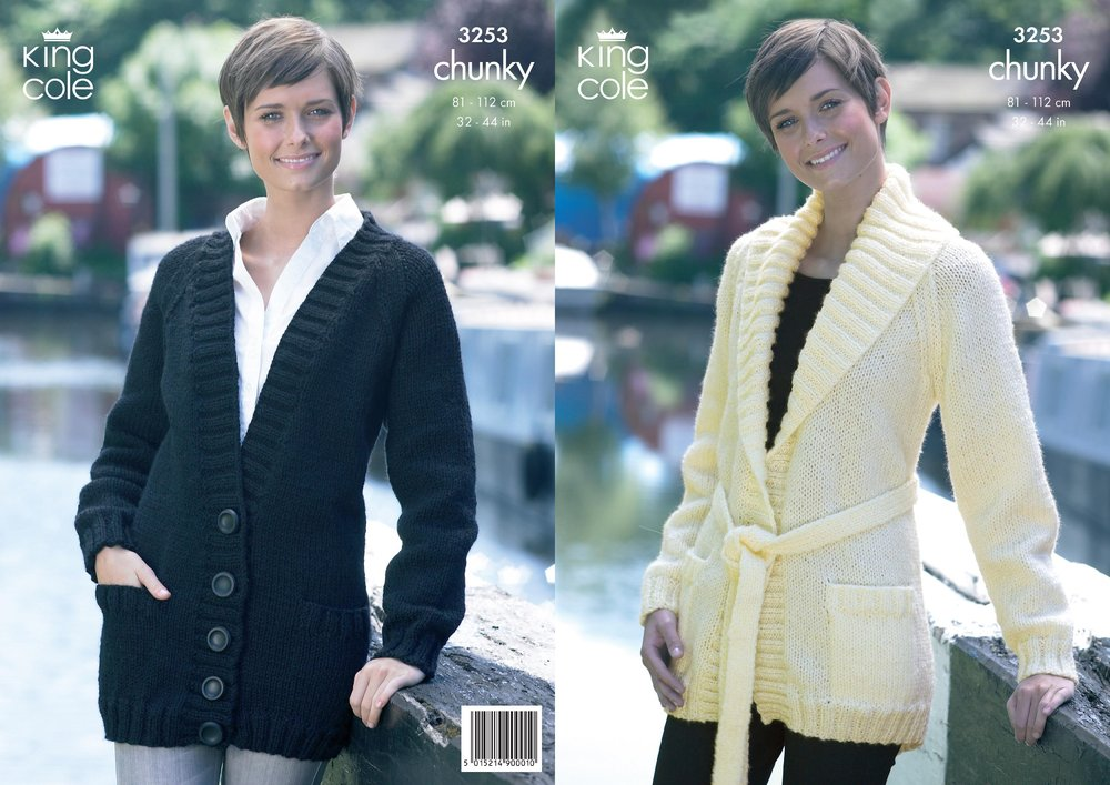 bef950501 King Cole 3253 Knitting Pattern Womens Jackets in King Cole Big Value Chunky  - Athenbys