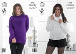 King Cole 3838 Knitting Pattern Sweaters in King Cole Glitz Chunky