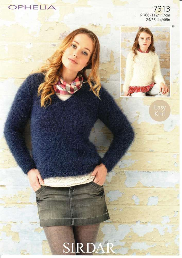 Sirdar 7313 Knitting Pattern Womens Girls Easy Knit Sweaters In