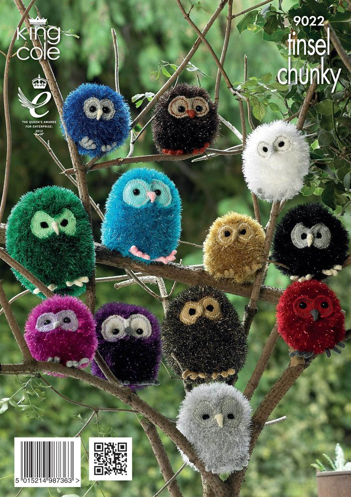 King Cole 9022 Knitting Pattern Owls in King Cole Tinsel Chunky ...