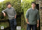 King Cole 3964 Knitting Pattern Cabled Sweater and Hoodie in King Cole Fashion Aran