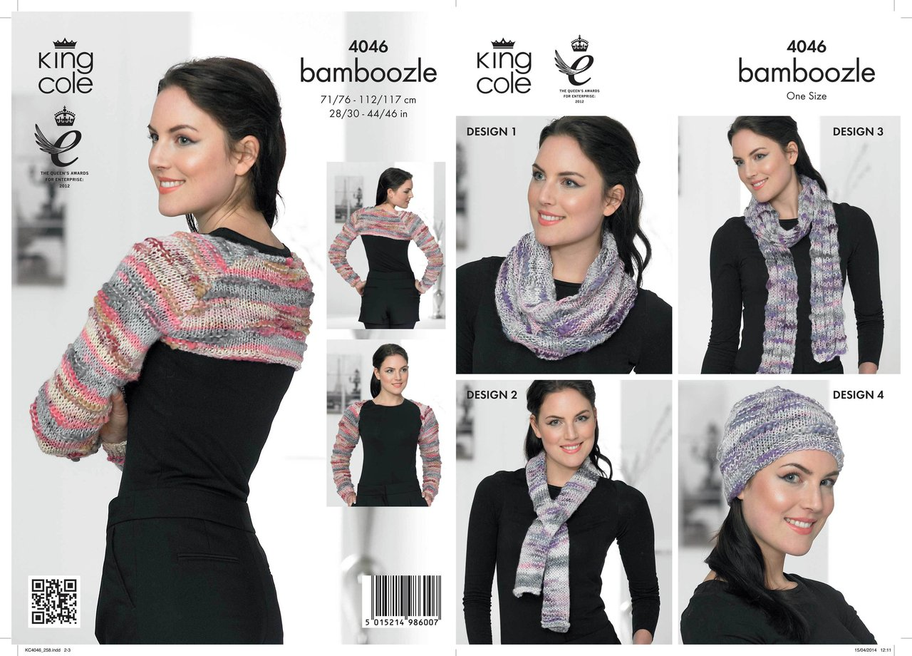 King Cole 4046 Knitting Pattern Shrug, Hat, Scarf, Snood and Neck ...