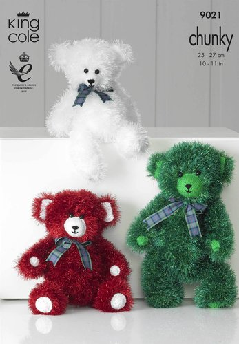 King Cole 9021 Knitting Pattern Tinsel Chunky Teddies in King Cole Tinsel Chunky