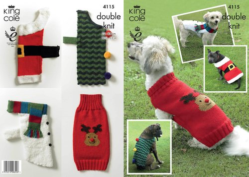 King Cole 4115 Knitting Pattern Christmas Dog Coats in King Cole DK
