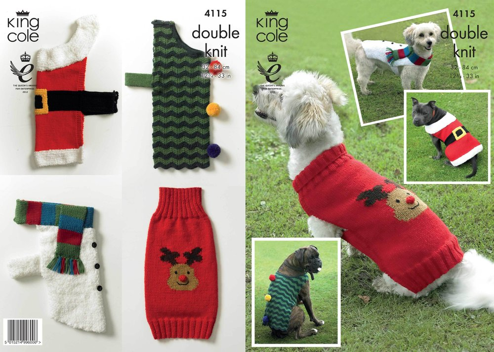 7be577d7adaa King Cole 4115 Knitting Pattern Christmas Dog Coats in King Cole DK ...
