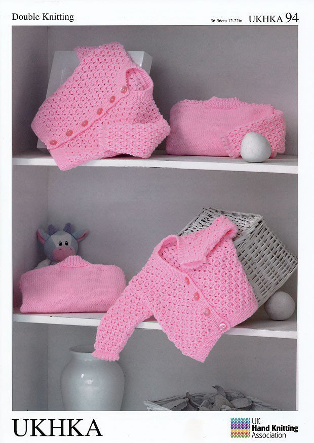 UKHKA 94 Knitting Pattern Baby Cardigans in DK - Athenbys