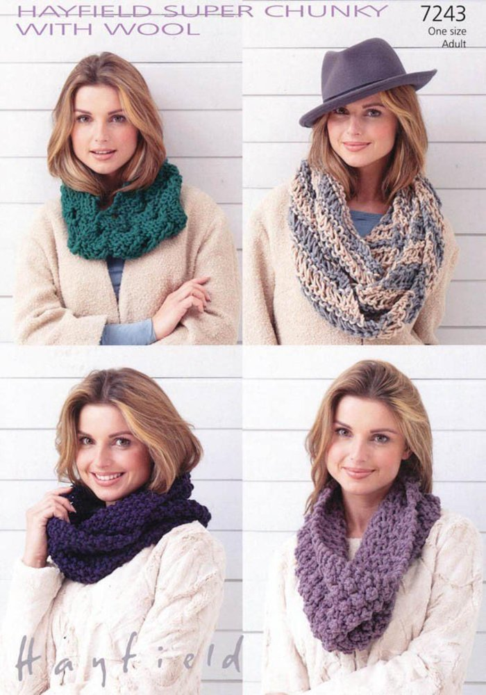 Sirdar 7243 Knitting Pattern Snoods In Hayfield Super Chunky With