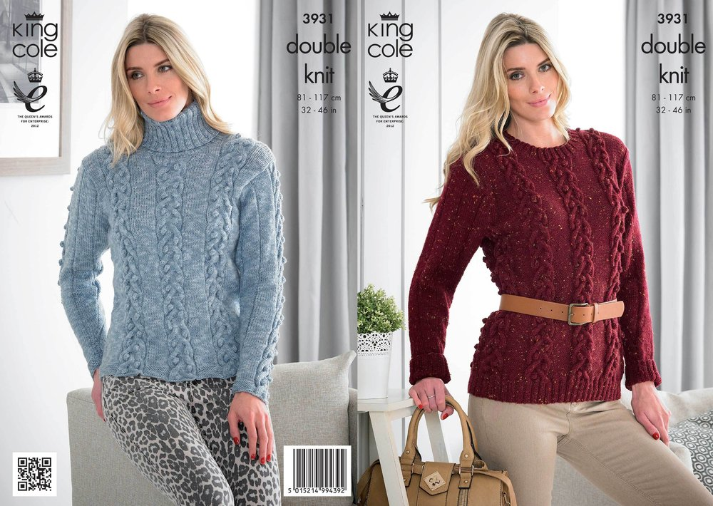 King Cole 3931 Knitting Pattern Womens Roll and Round Neck Sweaters ...