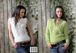 King Cole 3068 Knitting Pattern Womens Sweater & Slipover in King Cole Bamboo Cotton DK