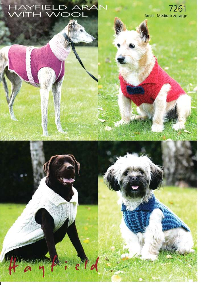 Sirdar 7261 Knitting Pattern Dog Coats In Hayfield Aran With Wool