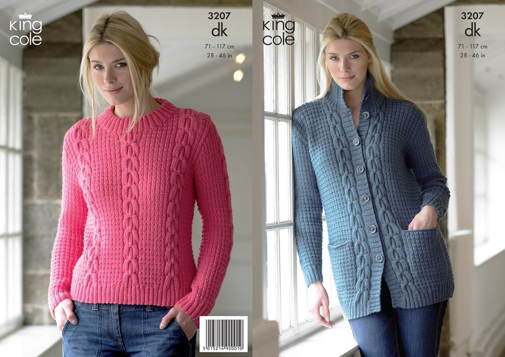 a2c2283237facc King Cole 3207 Knitting Pattern Womens Jacket and Sweater in King Cole  Merino Blend DK - Athenbys