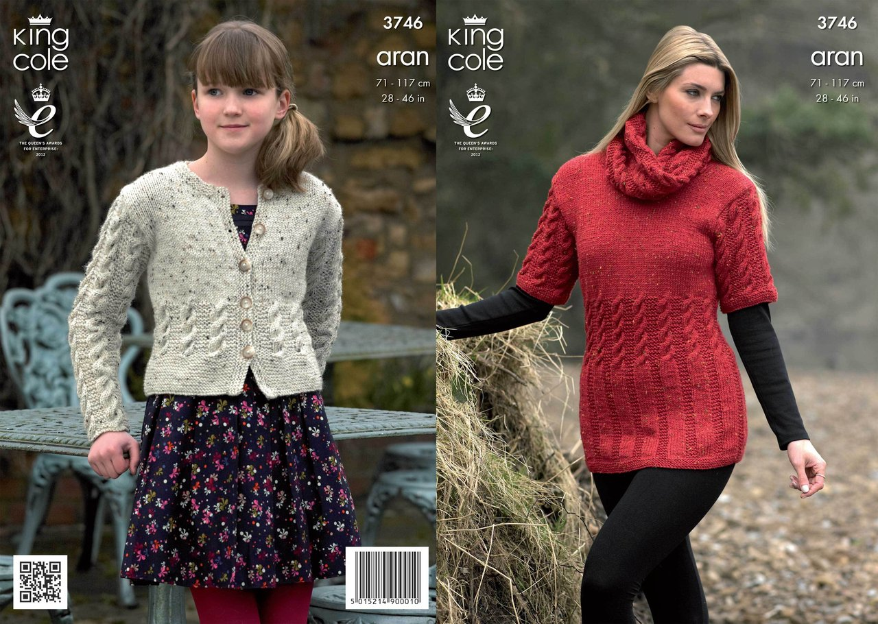 King Cole 3746 Knitting Pattern Tunic, Cardigan and Snood in King ...