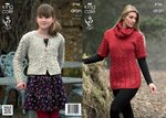 King Cole 3746 Knitting Pattern Tunic, Cardigan and Snood in King Cole Fashion Aran