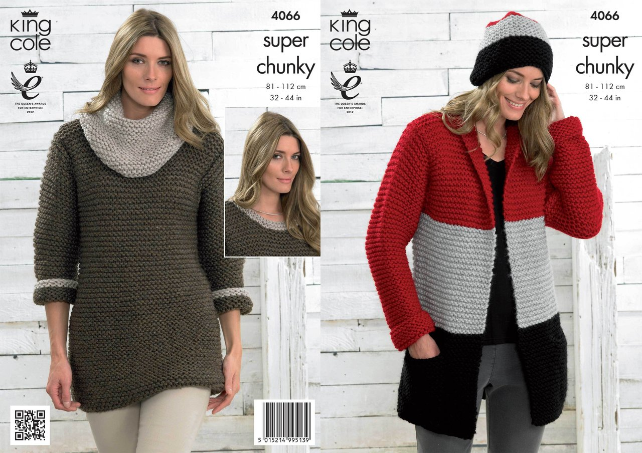 King Cole 4066 Knitting Pattern Jacket, Hat, Sweater Dress and Cowl ...