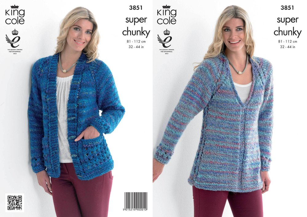 6d4ebf6a9 King Cole 3851 Knitting Pattern Tunic and Cardigan in King Cole Super Chunky  - Athenbys