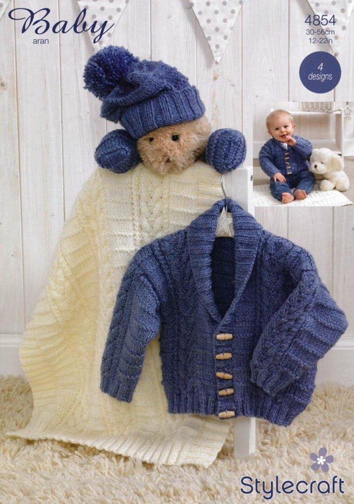Stylecraft 4854 Knitting Pattern Jacket Scarf Hat Mittens