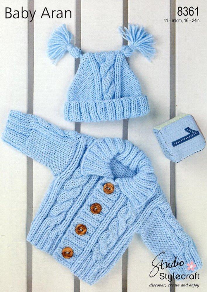 0d772f2f0395 Stylecraft 8361 Knitting Pattern Cardigan   Hat in Stylecraft Baby Aran -  Athenbys