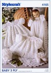 Stylecraft 4165 Knitting Pattern Matinee Coat, Dress, Bonnet, Bootees, Mittens and Shawl