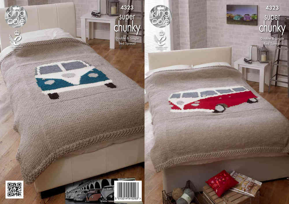 King Cole 4323 Knitting Pattern Camper Van Bed Throws In King Cole