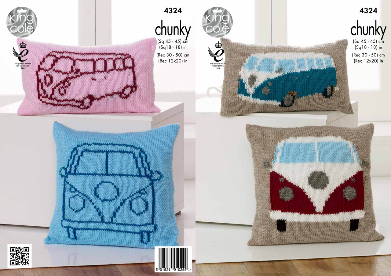 King Cole 4324 Knitting Pattern Camper Van Cushions in King Cole Big ...