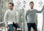 King Cole 4131 Knitting Pattern Mens Sweater and V Neck Cardigan in King Cole Authentic DK