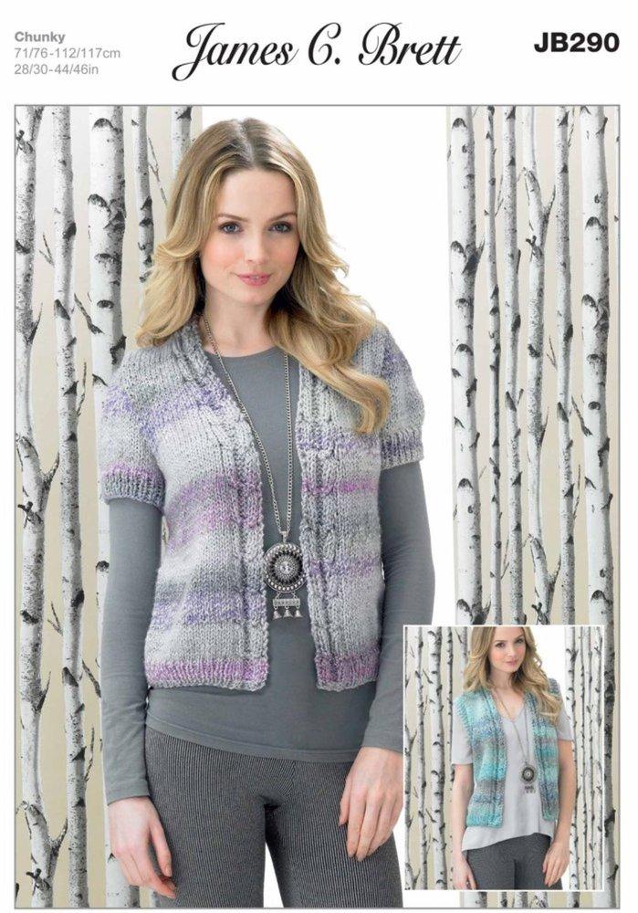 3f2bb7a72e2a James C Brett JB290 Knitting Pattern Womens Waistcoats in James C. Brett  Marble Chunky - Athenbys