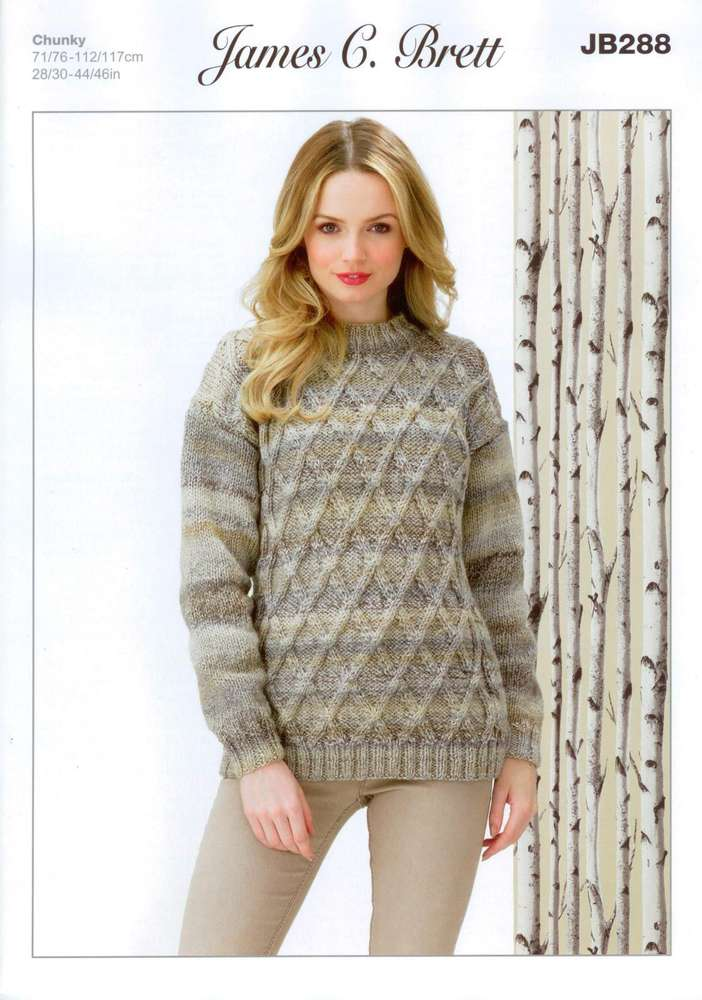 cfe7d35c5b391 James C Brett JB288 Knitting Pattern Sweater in James C. Brett Marble Chunky  - Athenbys