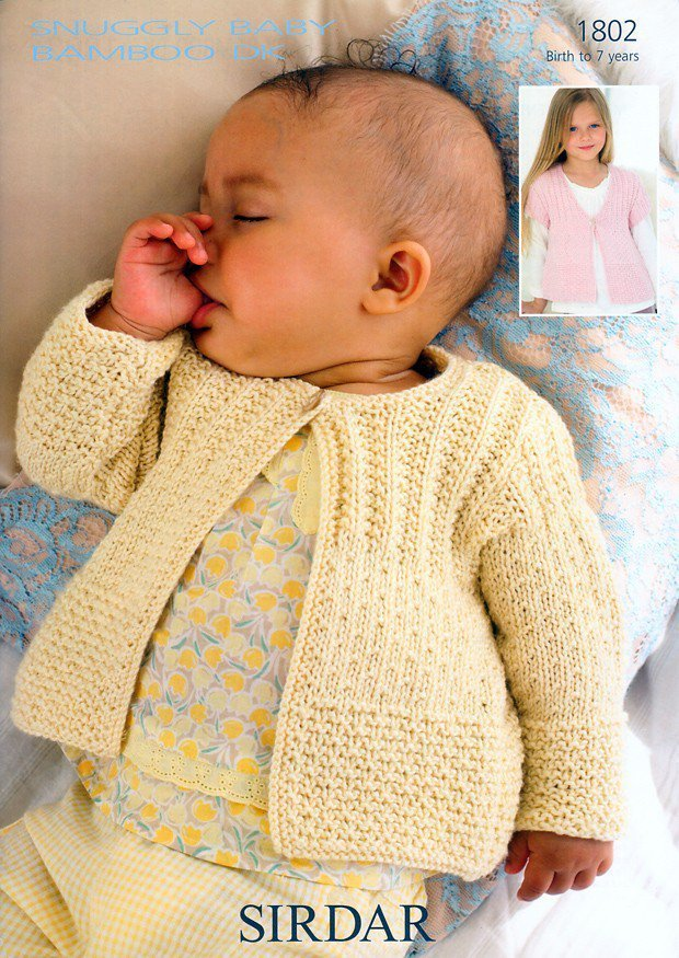 Sirdar 1802 Knitting Pattern Cardigans in Sirdar Snuggly Baby Bamboo ...