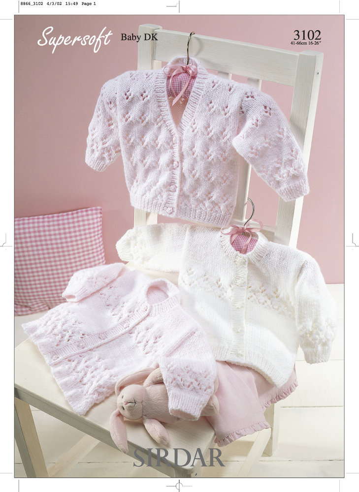 8a0218760c49 Sirdar 3102 Knitting Pattern Cardigans in Sirdar Supersoft Baby DK ...
