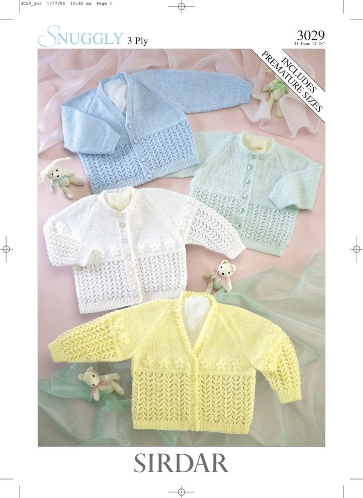 Sirdar 3029 Knitting Pattern Baby Cardigans in Sirdar Snuggly 3 Ply ...