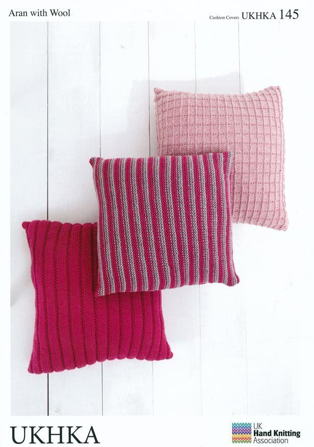 UKHKA 145 Knitting Pattern Cushion Covers in Aran with Wool - Athenbys