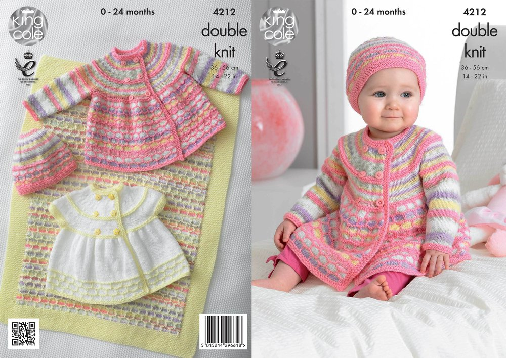 KNITTING PATTERN Baby LongSleeve Cardigans /&Blanket Candystripe DK KingCole 5070