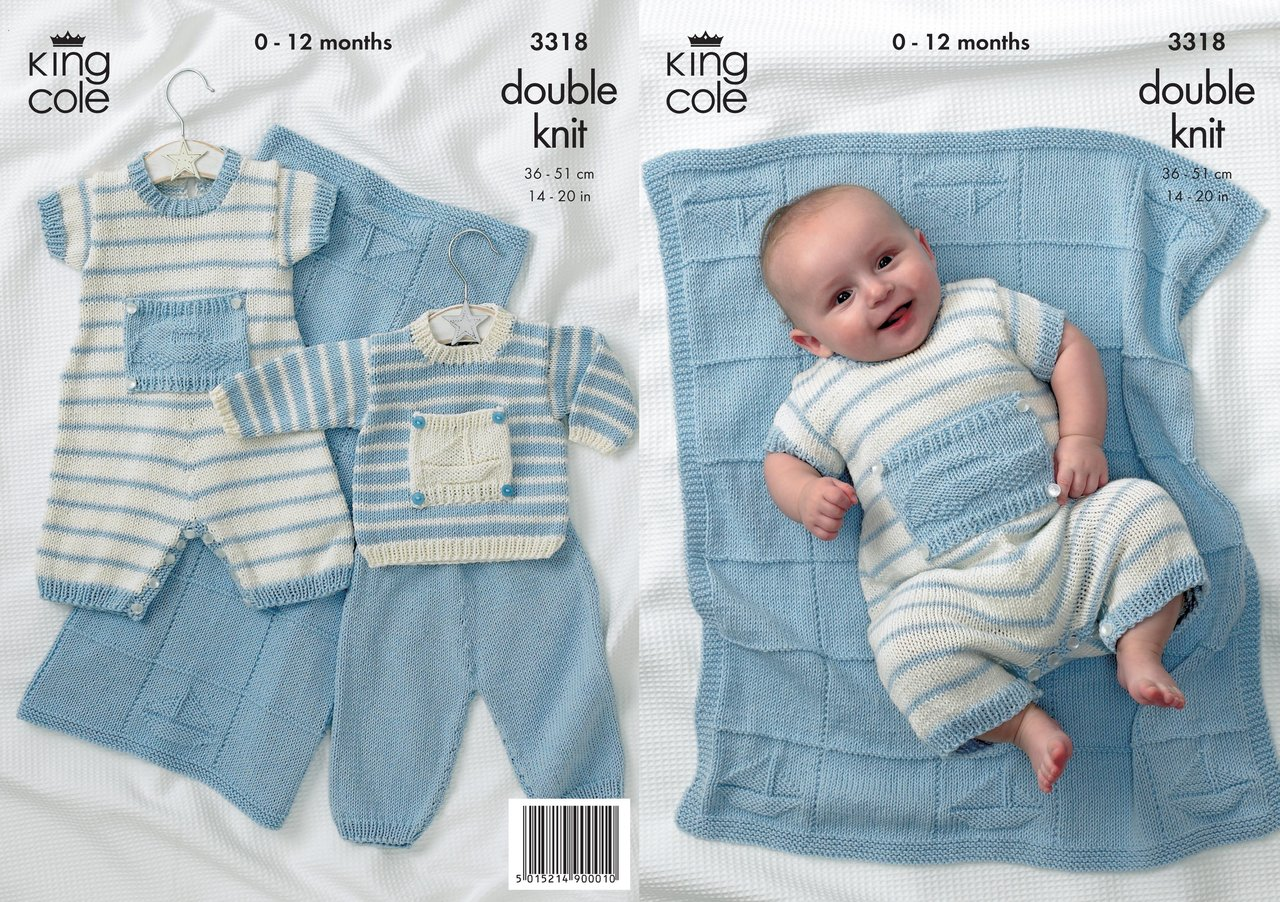 King Cole 3318 Knitting Pattern Sweater, Pants, Romper and Blanket ...