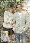 Sirdar 9219 Knitting Pattern Family Sweaters in Hayfield Bonus Aran