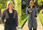 King Cole 2837 Knitting Pattern Jacket and Coat in King Cole Luxury Mohair and Fashion Aran