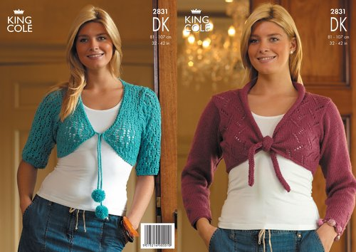 King Cole 2831 Knitting Pattern Shrugs In King Cole Merino Blend Dk