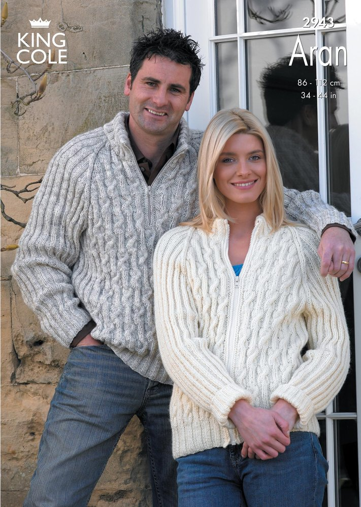 f312c286b King Cole 2943 Knitting Pattern Sweater and Jacket Knitted in King Cole  Fashion Aran - Athenbys