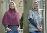 King Cole 3025 Knitting Pattern Capes in King Cole Merino Blend DK or King Cole Fashion Aran