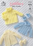 King Cole 3116 Knitting Pattern Sweater, Dress, Coat and Bootees in King Cole Comfort 4 Ply / DK