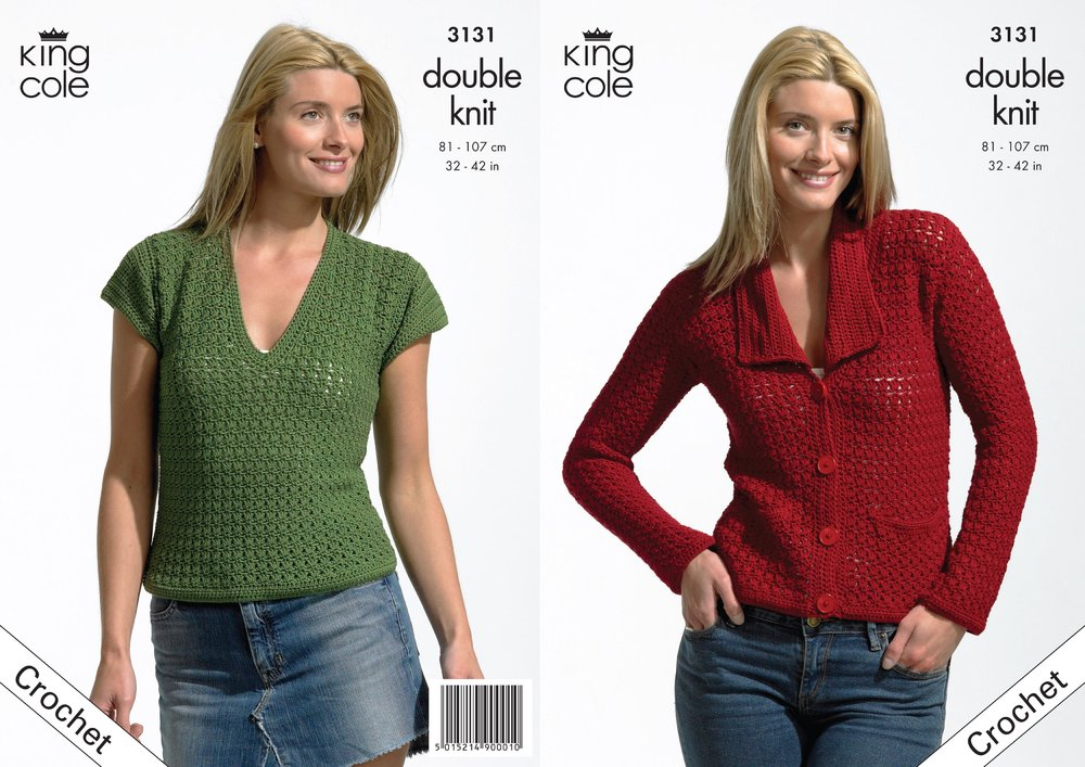King Cole 3131 Crochet Pattern Womens Jacket And Top In King Cole