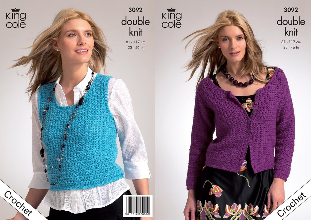 King Cole 3092 Crochet Pattern Crochet Slipover Cardigan In King